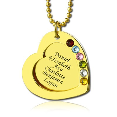 Heart Birthstones Necklace For Mother In Gold  - By The Name Necklace;