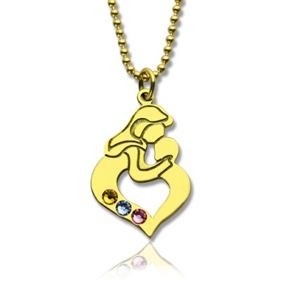 Personalised Mother Child Necklace with Birthstone Gold Plated Silver  - By The Name Necklace;