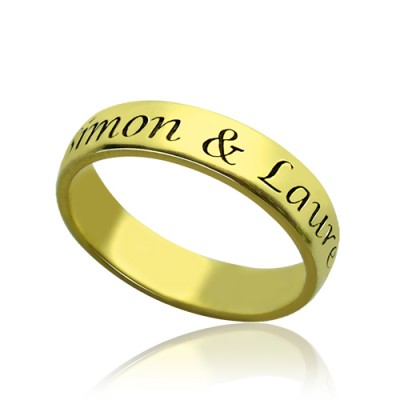 Engraved Promise Name Ring 18ct Gold Plated With My Engraved