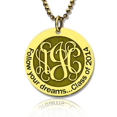 Follow Your Dreams Disc Monogram Necklace 18ct Gold Plated - By The Name Necklace;
