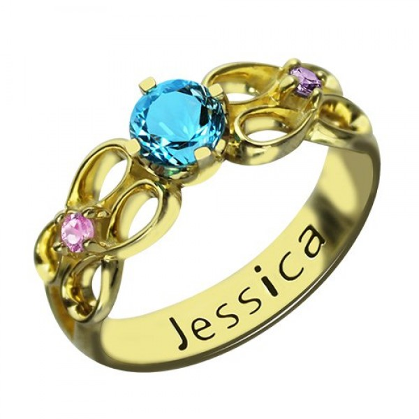 Birthstone Infinity Promise Ring With Name 18ct Gold Plated  - By The Name Necklace;