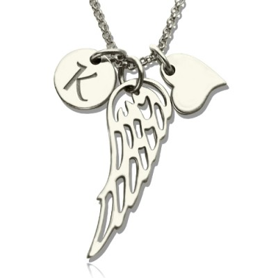 Girls Angel Wing Necklace Gifts With Heart  Initial Charm - By The Name Necklace;
