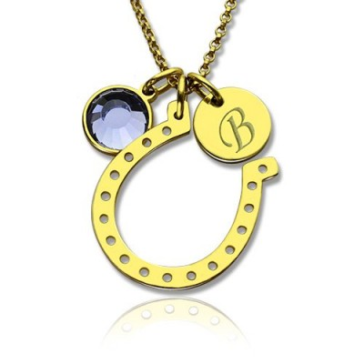 Birthstone Horseshoe Lucky Necklace with Initial Charm 18ct Gold Plate  - By The Name Necklace;
