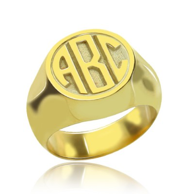 Customised Signet Ring with Block Monogram 18ct Gold Plated - By The Name Necklace;