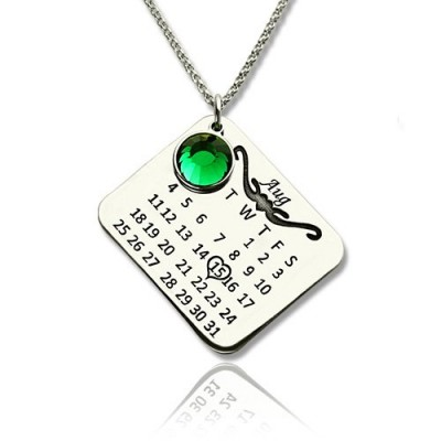 Birthstone Birthday Calendar Necklace Gifts Sterling Silver  - By The Name Necklace;