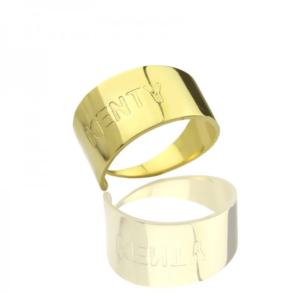 18ct Gold Plated Name Engraved Cuff Rings With My Engraved