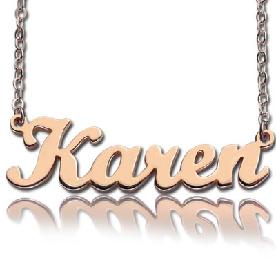 18ct Rose Gold Plated Karen Style Name Necklace - By The Name Necklace;