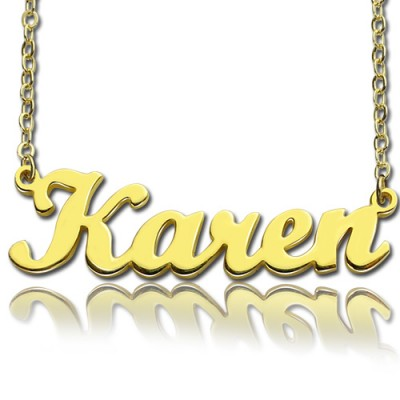 18ct Gold Plated Karen Style Name Necklace - By The Name Necklace;