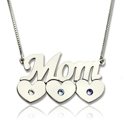 Mother Necklace With Children Birthstone Silver  - By The Name Necklace;