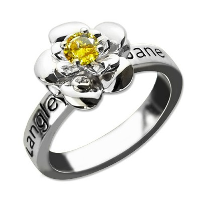 Promise Rose Ring Engraved Name  Birthstone Sterling Silver  With My Engraved