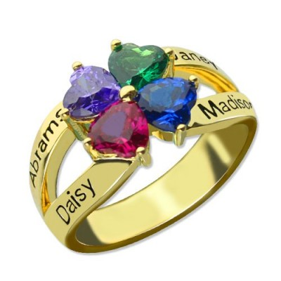 Family Ring for Mom Four Clover Hearts in 18ct Gold Plated - By The Name Necklace;