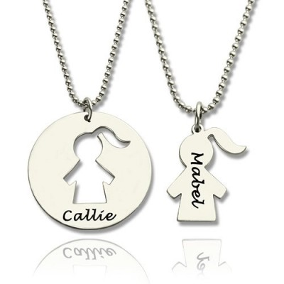 Mother Daughter Necklace Set Engraved Name Sterling Silver With My Engraved