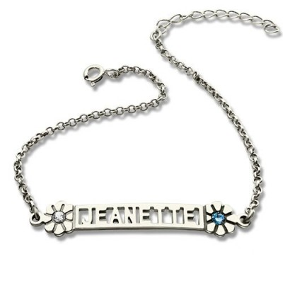 Personalised ID Birthstone Name Bracelet For Teens  - By The Name Necklace;