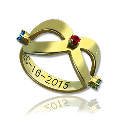 18ct Gold Plated Engraved Infinity Birthstone Ring  With My Engraved