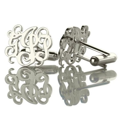 Personalised Cufflinks with Monogram Sterling Silver - By The Name Necklace;