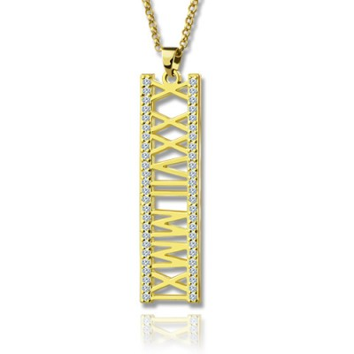 18ct Gold Plated Roman Numeral Necklace With Birthstone  - By The Name Necklace;