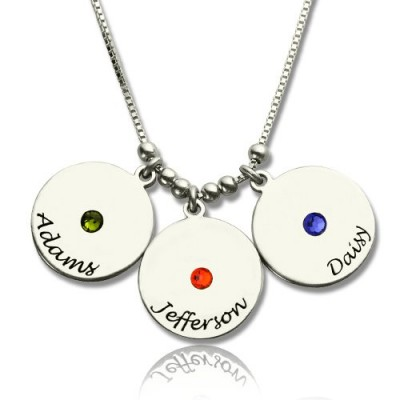 Mother's Disc and Birthstone Charm Necklace  - By The Name Necklace;