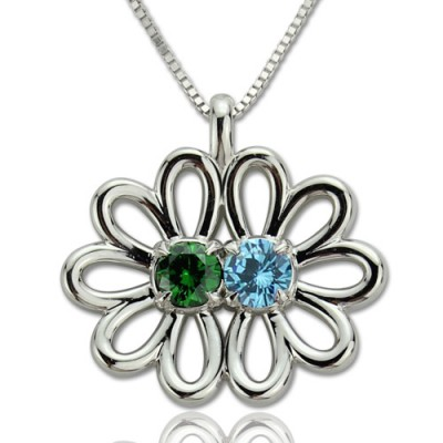 Personalised Double Flower Pendant with Birthstone Sterling Silver  - By The Name Necklace;