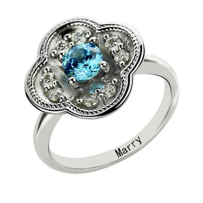 Birthstone Blossoming Love Engagement Ring Sterling Silver  - By The Name Necklace;