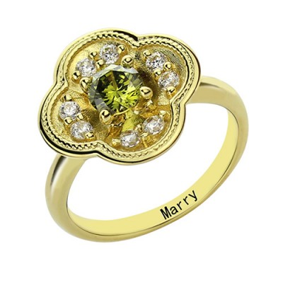 Blossoming Engagement Ring Engraved Birthstone 18ct Gold Plated  With My Engraved