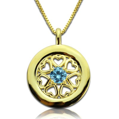 Personalised Hearts Around Necklace with Birthstone 18ct Gold Plated  - By The Name Necklace;