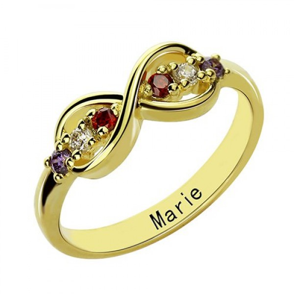 18ct Gold Plated Infinity Promise Rings with Birthstone  - By The Name Necklace;