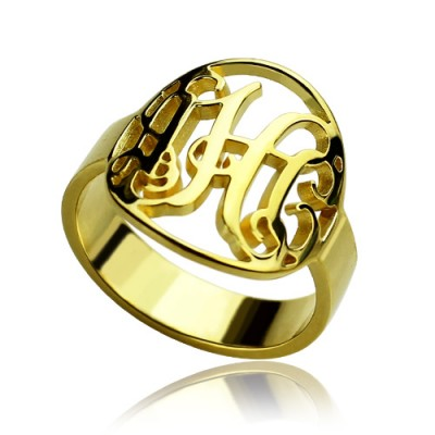 Custom Circle Cut Out Monogrammed Ring 18ct Gold Plated - By The Name Necklace;