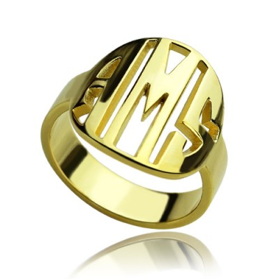 Personalised Block Circle Monogram Ring 18ct Gold Plated - By The Name Necklace;