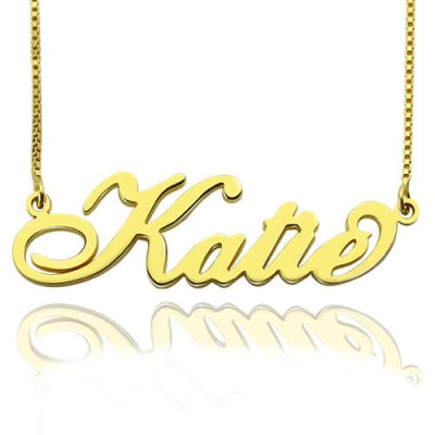 Personalised Necklace Nameplate Carrie in 18ct Gold Plated - By The Name Necklace;