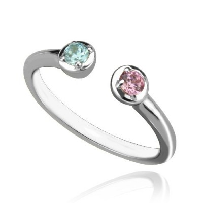 2 Stone Dual Birthstone Cuff Ring Sterling Silver  - By The Name Necklace;