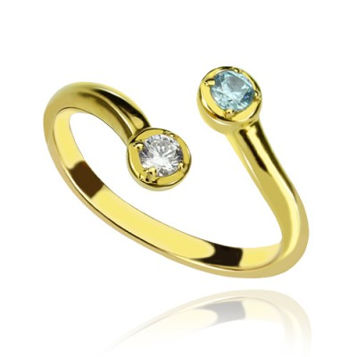 Dual Drops Birthstone Ring 18ct Gold Plated  - By The Name Necklace;