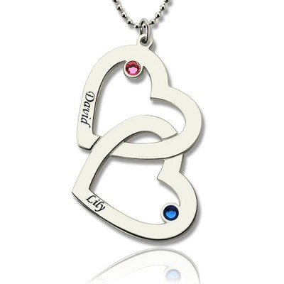 Double Heart Necklace with Name  Birthstones Sterling Silver  - By The Name Necklace;