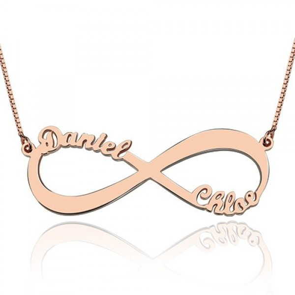 18ct Rose Gold Plated Double Name Infinity Necklace - By The Name Necklace;