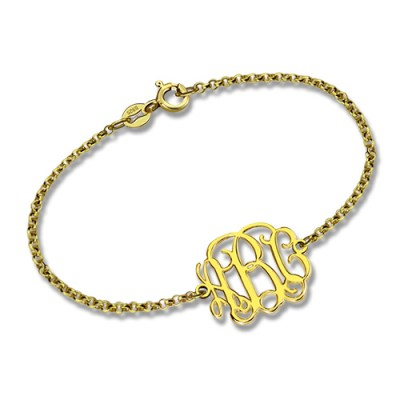 18ct Gold Plated Monogram Bracelet - By The Name Necklace;