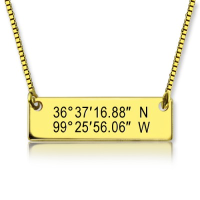 GPS Map Nautical Coordinates Necklace 18ct Gold Plated - By The Name Necklace;