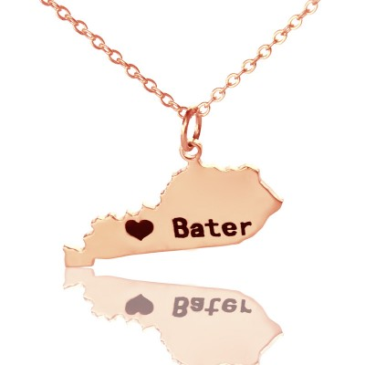 Custom Kentucky State Shaped Necklaces With Heart  Name Rose Gold - Handcrafted By My Engraved™