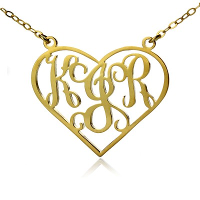 Solid Gold Initial Monogram Personalised Heart Necklace - By The Name Necklace;