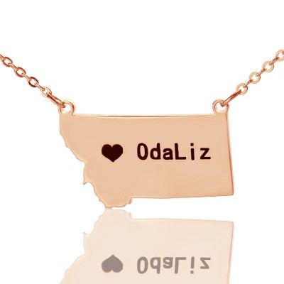 Custom Montana State Shaped Necklaces With Heart  Name Rose Gold - By The Name Necklace;