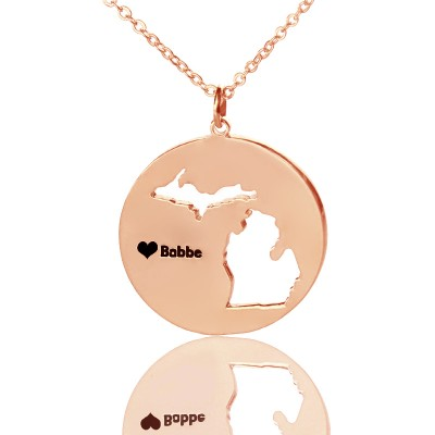 Custom Michigan Disc State Necklaces With Heart  Name Rose Gold - By The Name Necklace;