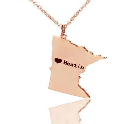 Custom Minnesota State Shaped Necklaces With Heart  Name Rose Gold - By The Name Necklace;