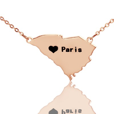 South Carolina State Shaped Necklaces With Heart  Name Rose Gold - By The Name Necklace;