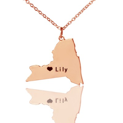 Personalised NY State Shaped Necklaces With Heart  Name Rose Gold - By The Name Necklace;