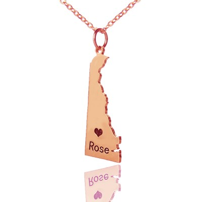 Custom Delaware State Shaped Necklaces With Heart  Name Rose Gold - By The Name Necklace;