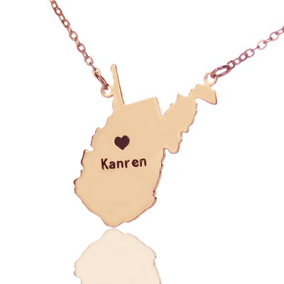 West Virginia State Shaped Necklaces With Heart  Name Rose Gold - By The Name Necklace;