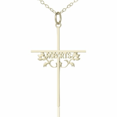 Silver Cross Name Necklaces with Rose - By The Name Necklace;