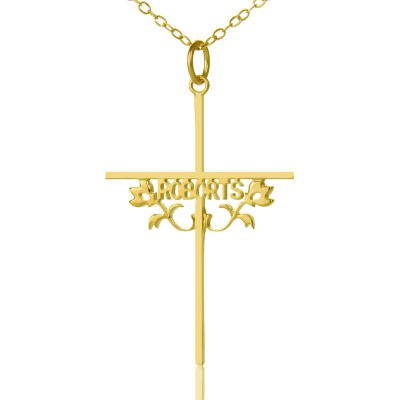 Gold Plated 952 Silver Cross Name Necklaces with Rose - By The Name Necklace;