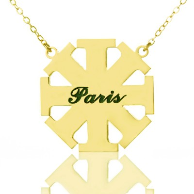 Customised Cross Necklace with Name 18ct Gold Plated 925 Silver - By The Name Necklace;