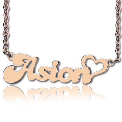 Personalised BANANA Font Heart Shape Name Necklace 18ct Rose Gold Plated - By The Name Necklace;