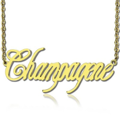 18ct Gold Plated Silver 925 Personalised Champagne Font Name Necklace - By The Name Necklace;