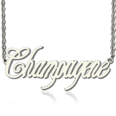 Solid White Gold Personalised Champagne Font Name Necklace - By The Name Necklace;